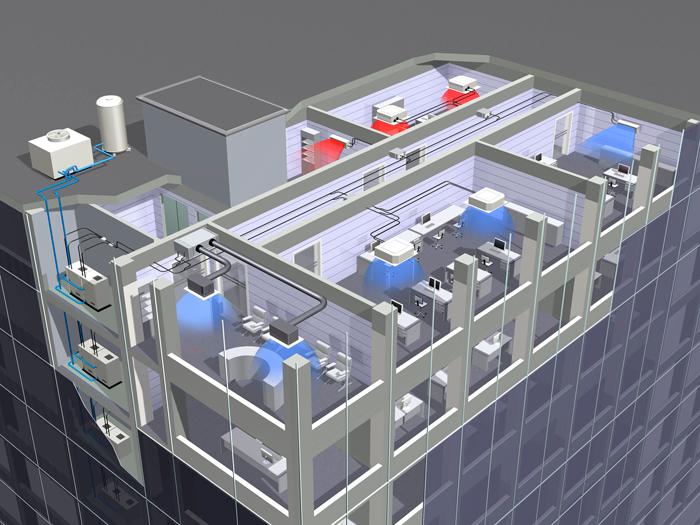 Climatización industrial de grandes edificaciones y fábricas que requieran grandes potencias frigoríficas.